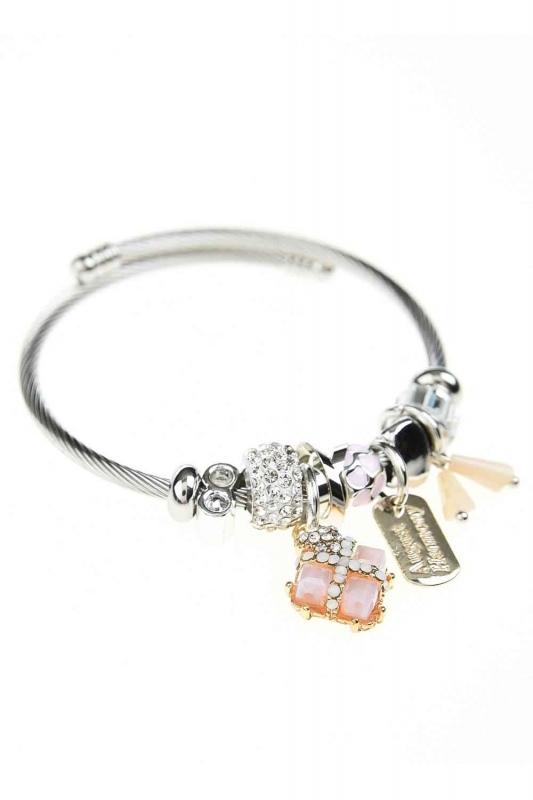 Square Stone Bracelet (Pink)