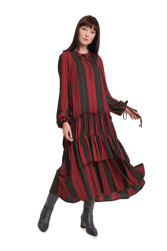Kat Detaylı Çizgili Elbise (Bordo)