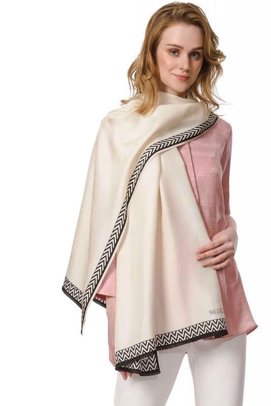 Patterned Silk Shawl (Ecru)