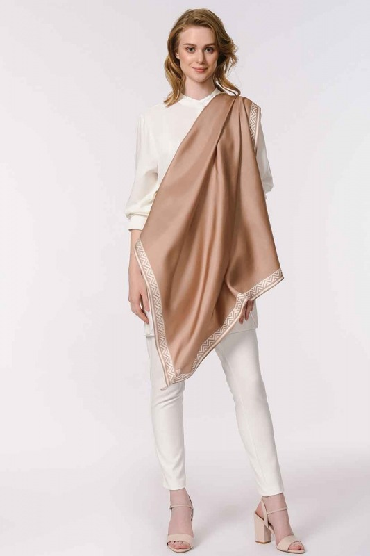 Patterned Edges Silk Scarf (Beige)