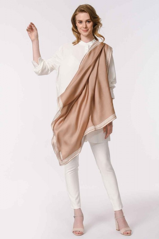 Patterned Edges Silk Scarf (Beige)