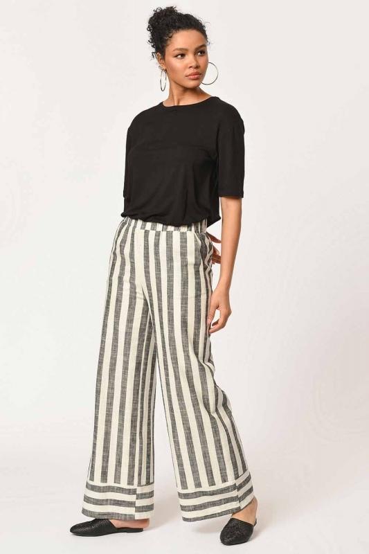 Linen Striped Waist Pants (Ecru/Anthracite)