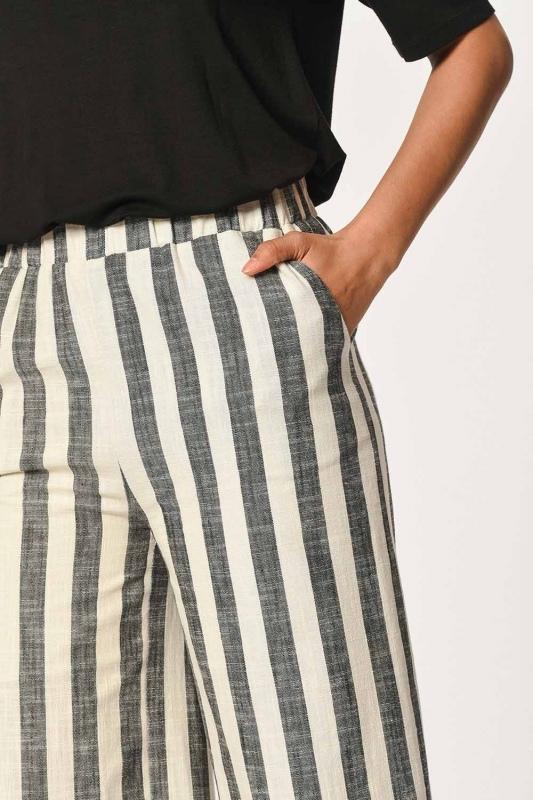 Keten Çizgili Beli Lastikli Pantolon (Ekru/Antrasit)