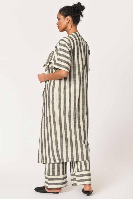 Linen Striped Long Cardigan (Ecru/Anthracite)
