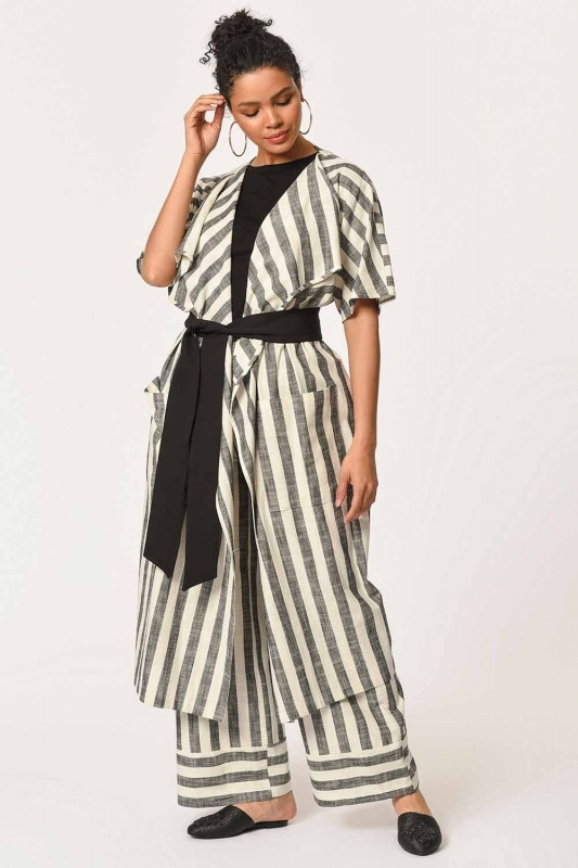 Keten Çizgili Uzun Kimono Hırka (Ekru/Anta)