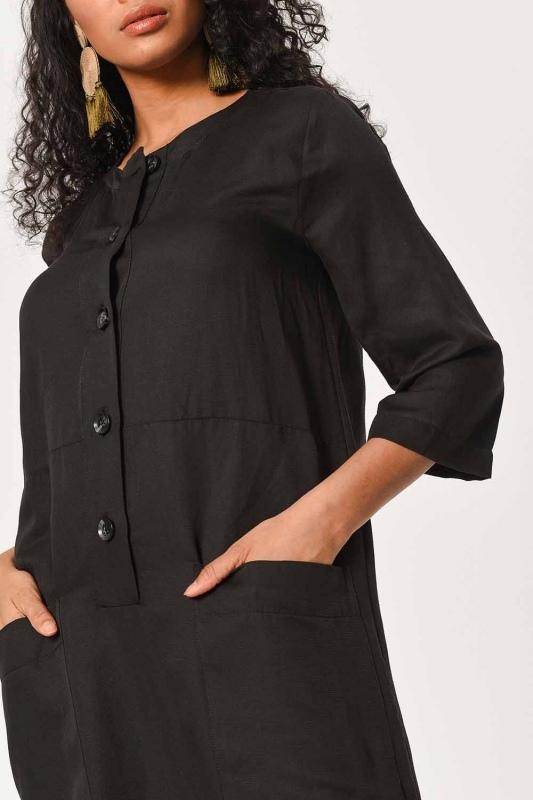Keten Önden Düğmeli Uzun Elbise (Siyah)