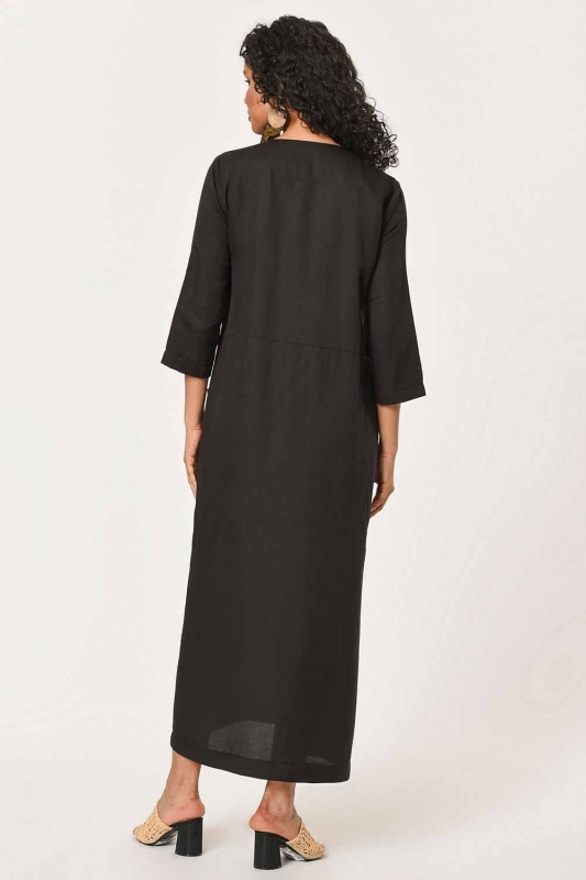 Front Button Linen Long Dress (Black)