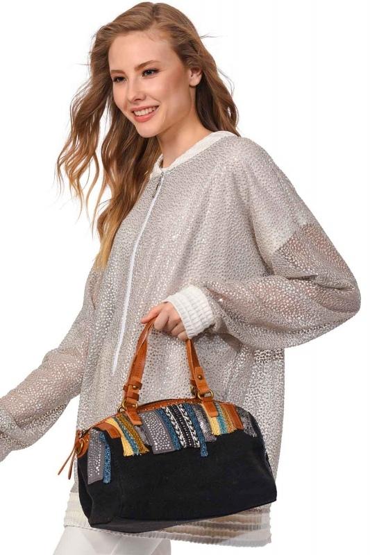 Linen Arm Bag (Black)
