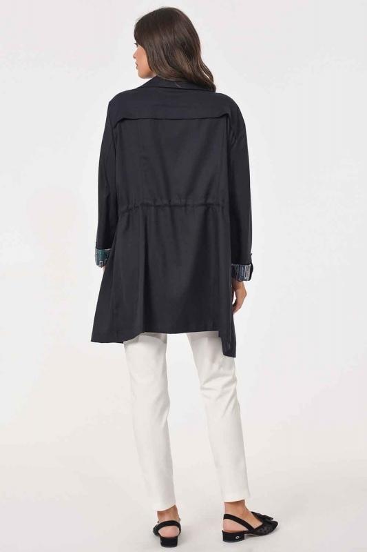 خندق معطف خشن حجم كبير(كُحْلِيّ)