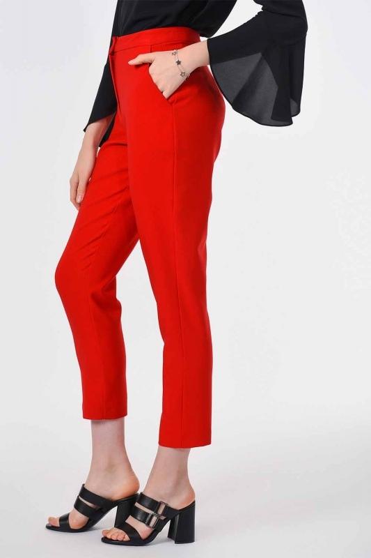 Classic Narrow Leg Trousers (Orange-Red)