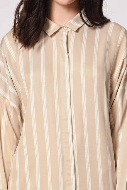 Klasik Rahat Kalıp Gömlek (Ekru-Bej) - Thumbnail