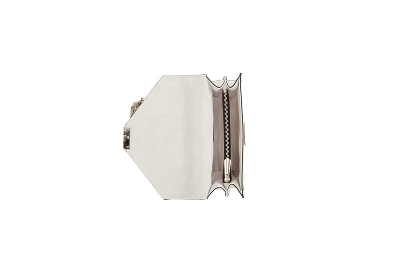 حقيبة كتف جلدية (أبيض)