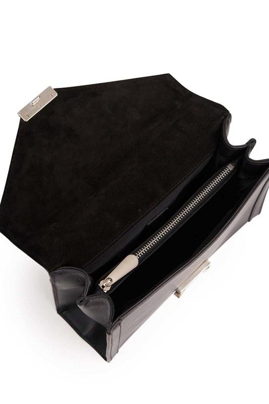 Klasik Zincirli Deri Omuz Çantası (Siyah)