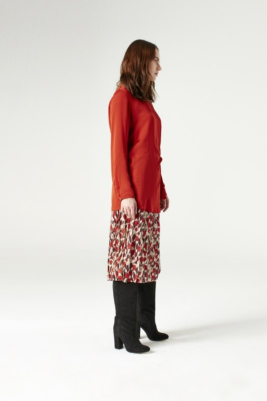 Knot Detailed Blouse (Brick Red)