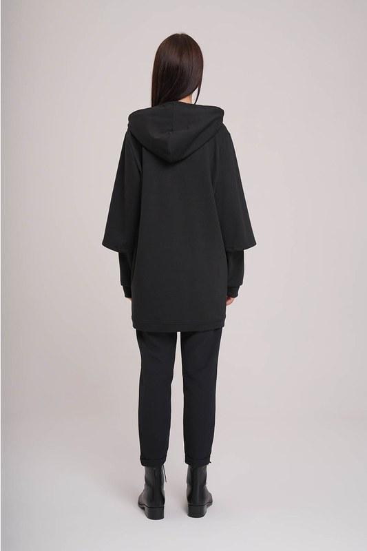 Kolları Çift Katlı Sweatshirt (Siyah)