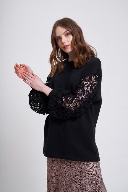 Kolları Güpür Sweatshirt (Siyah) - Thumbnail