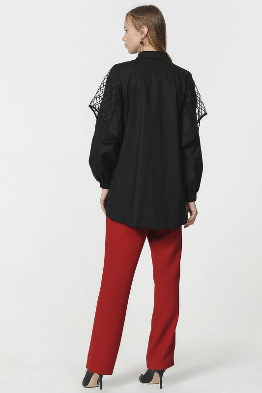 Poplin Shirt With Organza Detailed Sleeves (Black)