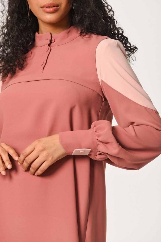 Kolları Parçalı Tunik Elbise (Gül Kurusu)