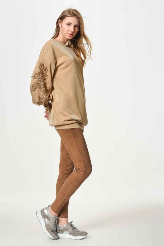 Sweatshirt With Sequin Detailed Sleeves (Gold)