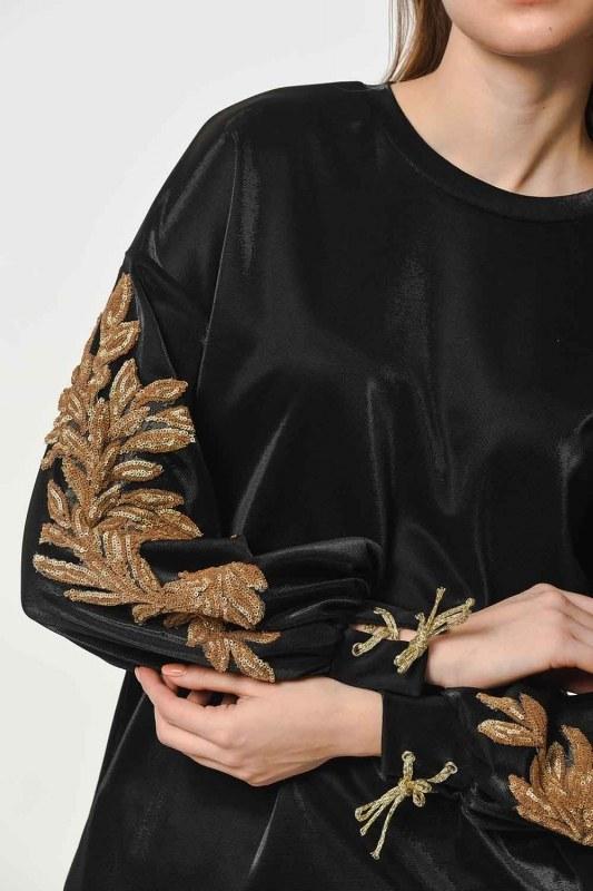 Kolları Payet İşleme Detaylı Sweatshirt (Siyah)