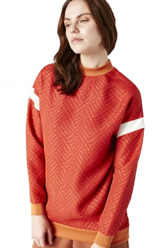 Sweatshirt With Strip Detail On Sleeves (Orange)