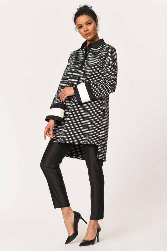 Kolları Şerit Detaylı Tunik Gömlek (Siyah)