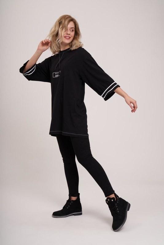 Kolları Şeritli Tunik (Siyah)
