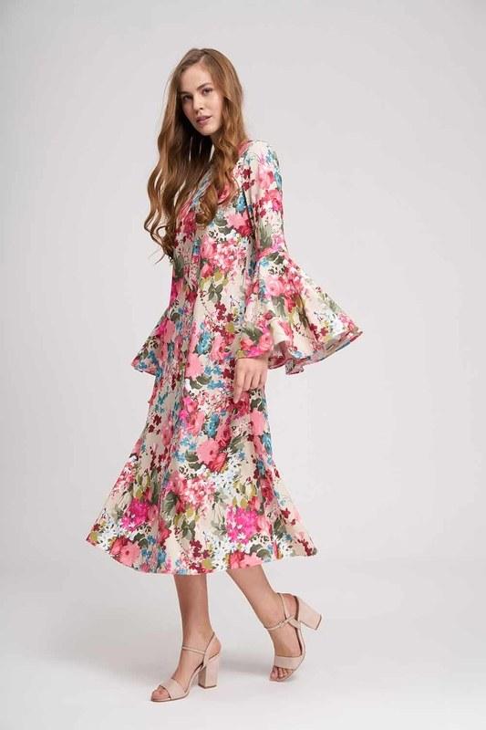 فستان زهري بأكمام مكشكشة (بيج)