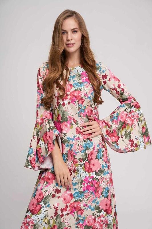 Kolları Volanlı Çiçekli Elbise (Bej)