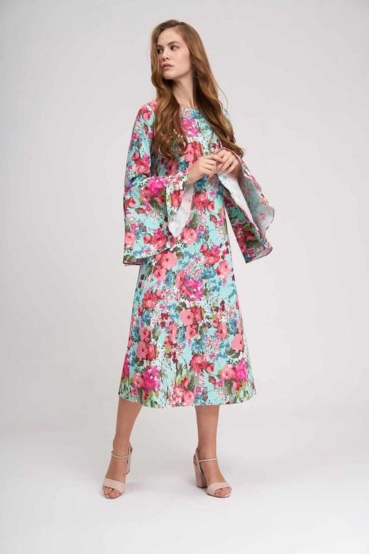 فستان زهري بأكمام مكشكشة (نعناع)