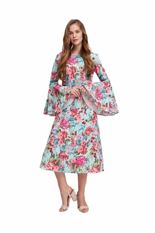 Handles Flywheel Floral Dress (Mint)
