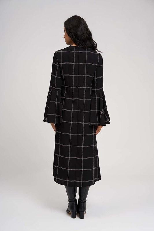 Kolları Volanlı Ekose Elbise (Siyah)