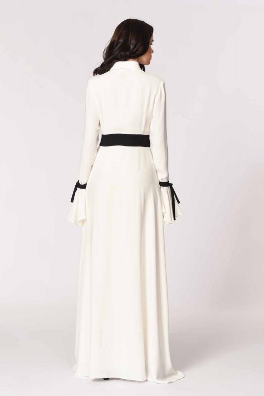 Kolları Volanlı Tasarım Maxi Elbise (Siyah/Beyaz)