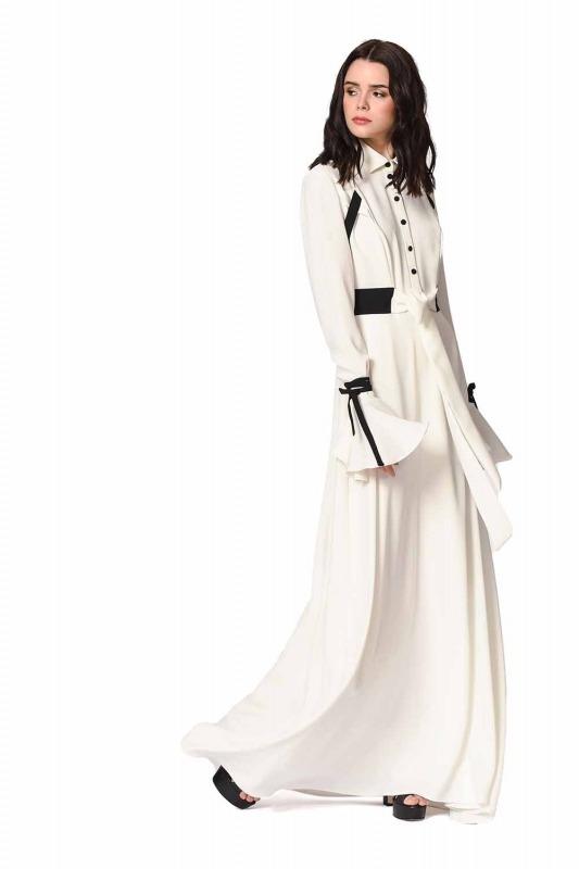 Sleeve Flywheel Design Maxi Dress (Black/White)