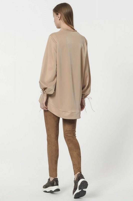 Sweatshirt With Lacing Detailed Sleeves (Gold)