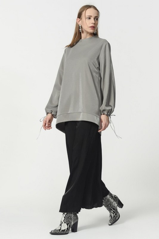 Kolu Bağcıklı Sweatshirt (Gri)