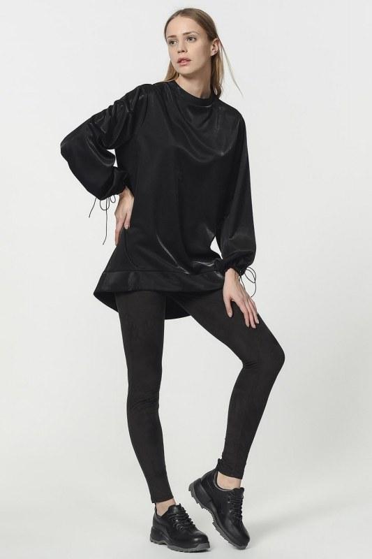 Kolu Bağcıklı Sweatshirt (Siyah)