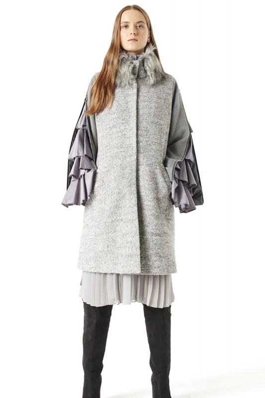 Zipped Sleeve Fur Collar Coat (Grey)