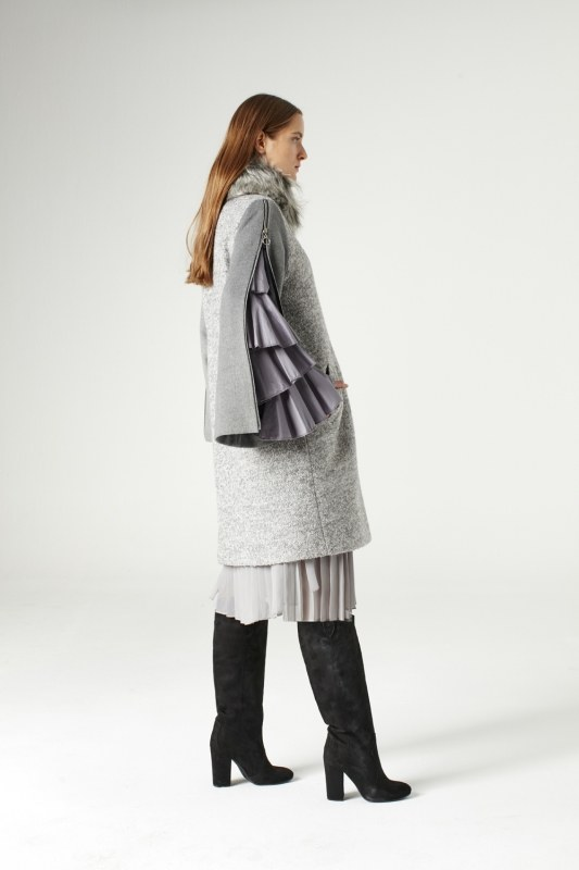 Zipped Sleeve Fur Collar Coat (Grey)