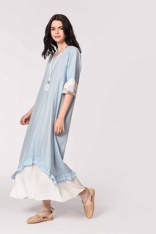 Kolyeli Bürümcük Salaş Elbise (Açık Mavi)