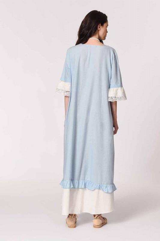 Necklace Detailed Bohemian Dress (Light Blue)