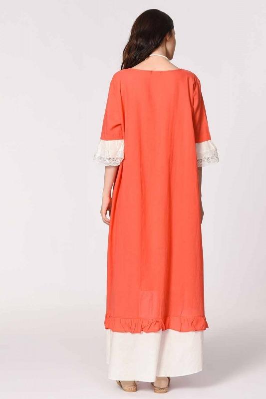 Kolyeli Bürümcük Salaş Elbise (Mercan)