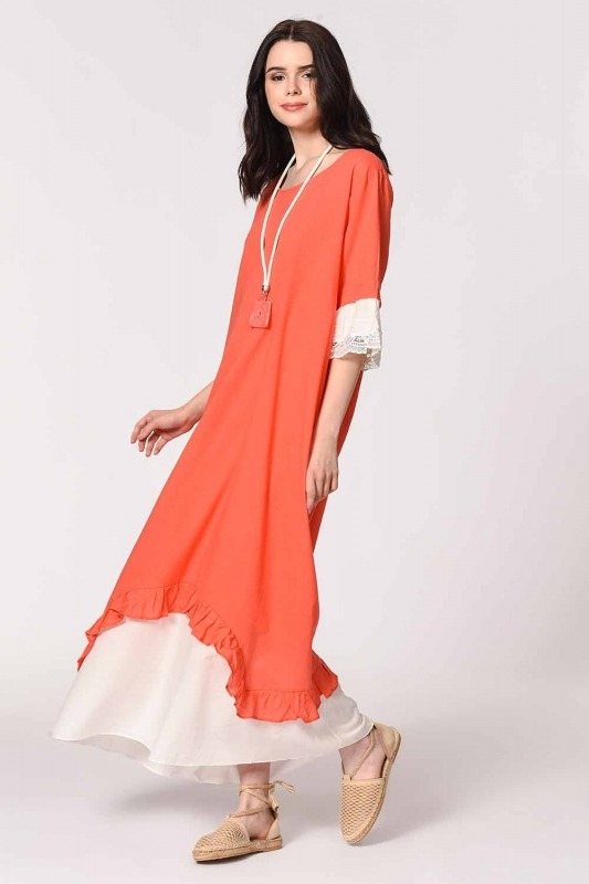 Necklace Detailed Bohemian Dress (Coral)