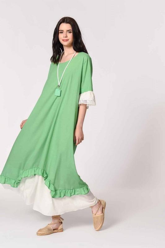 Kolyeli Bürümcük Salaş Elbise (Yeşil)