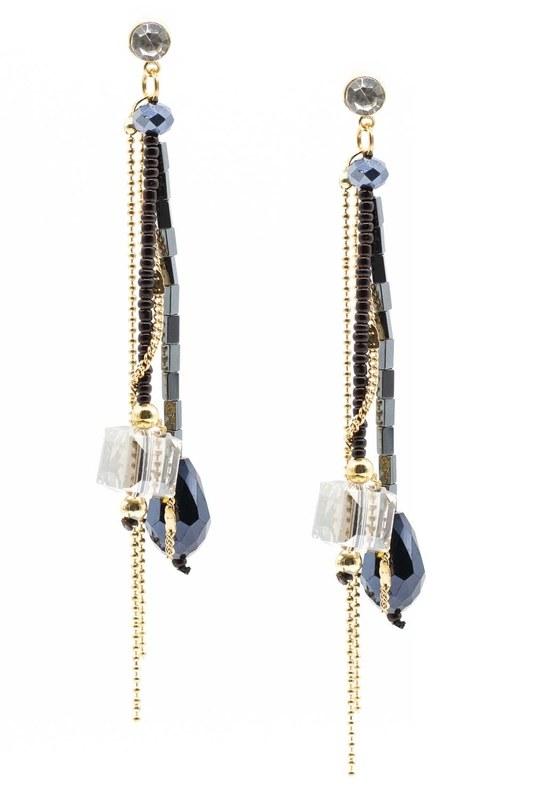Swinging Earring With Crystal Stones (Dark Blue)
