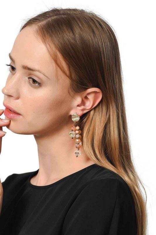 Swinging Earrings With Crystal Stones (Brown)