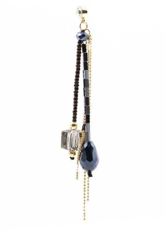 Kristal Taşlı Sallantılı Küpe (Lacivert)