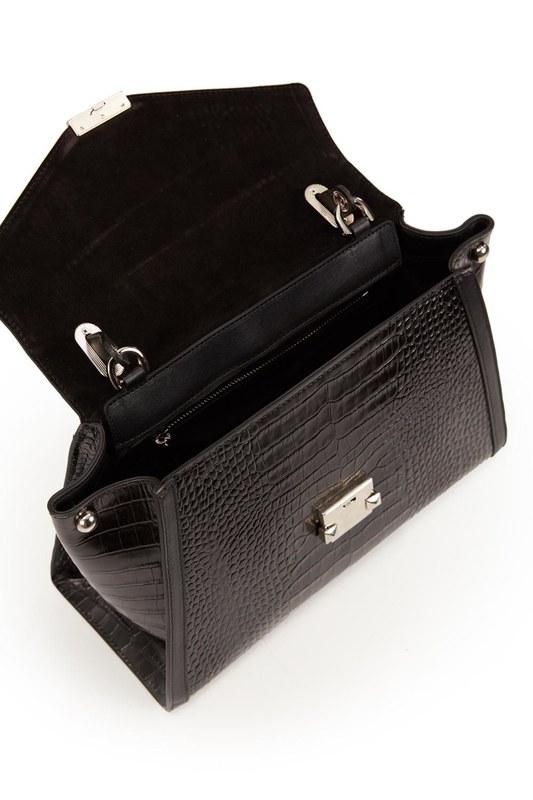 حقيبة كتف جلد التمساح (أسود التمساح)
