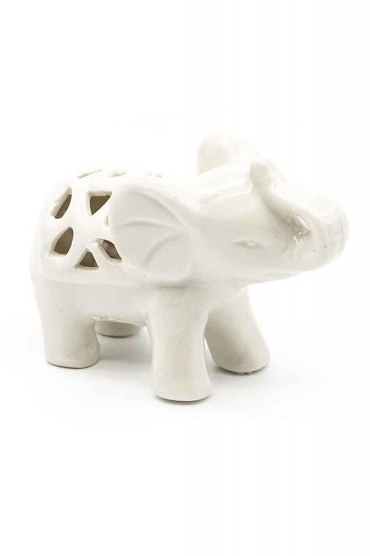 Küçük Boy Porselen Fil Biblo (Beyaz)