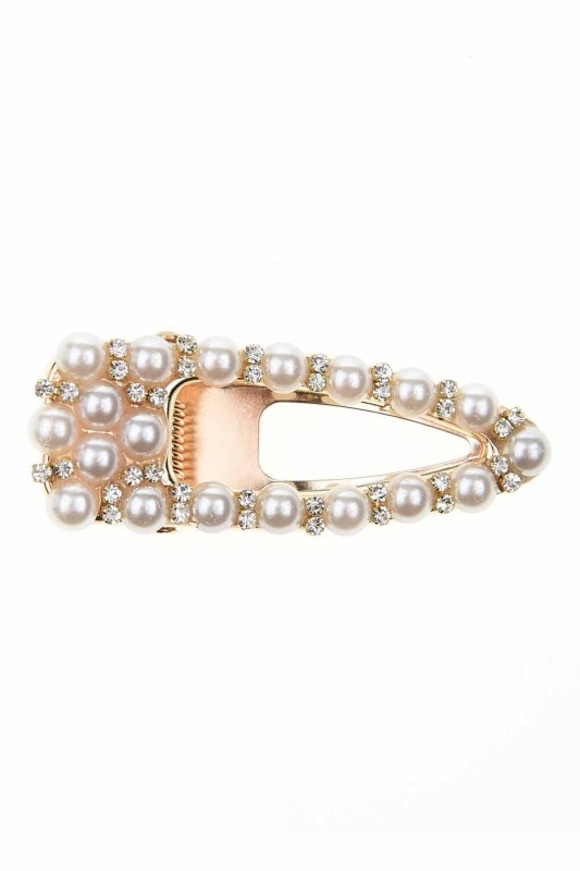 Pearl Detailed Snap Buttons Hair Clips (St)